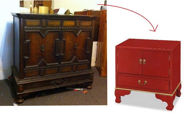 red lacquer paint on cabinet