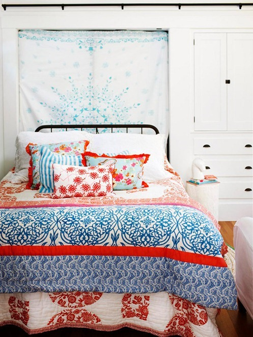 textile behind bed bhg