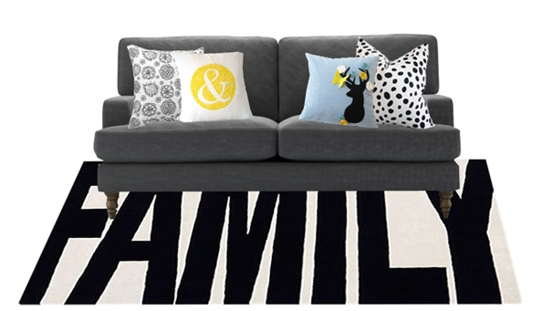 black and white pillows and rug