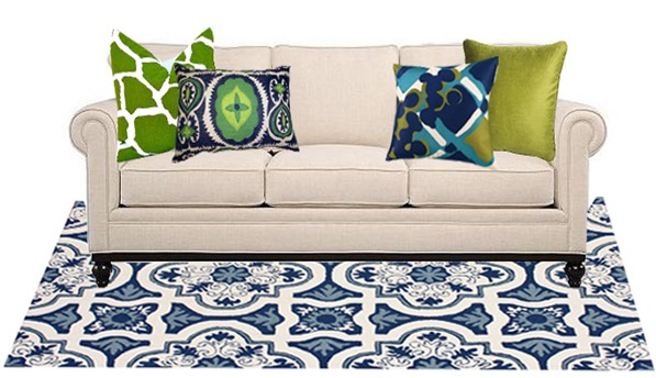 blue and green pattern mix