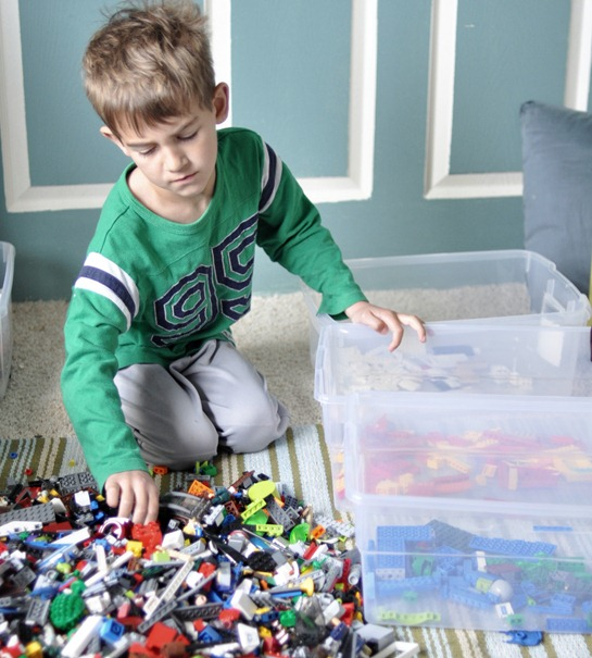 boy and legos