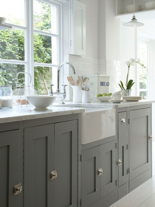 gray cabinets white doors