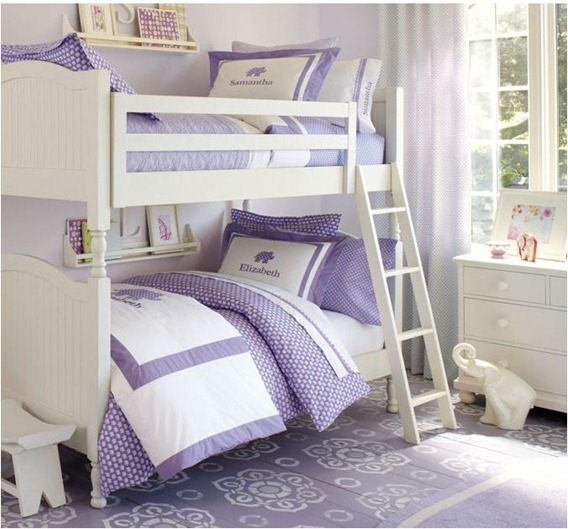 lavender linens on white bunk beds pbkids
