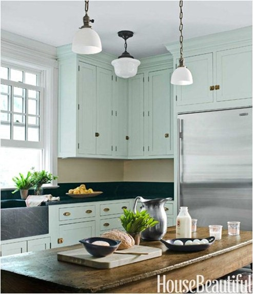 mint cabinets farmhouse kitchen house beautiful
