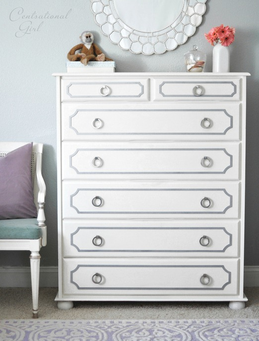 painted white dresser with gray overlays