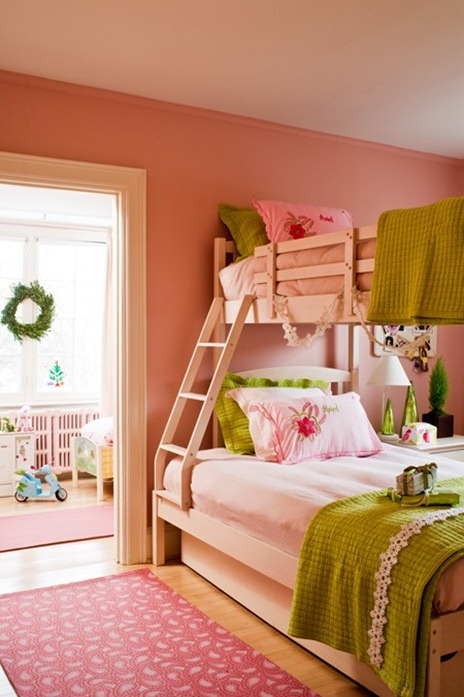 pink and green bunk beds for girls