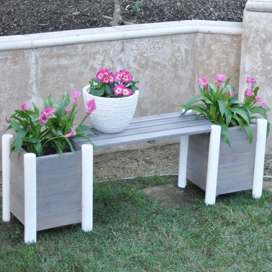 planter bench gray and white