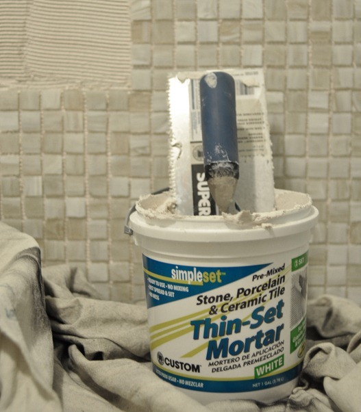 thin set mortar and trowel