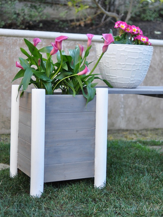 weathered gray planter and bench