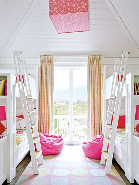 white bunks pink accents coastal living