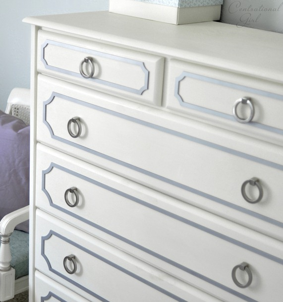 white dresser gray overlays nickel pulls
