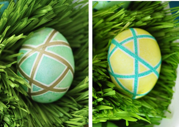 banded washi tape easter eggs