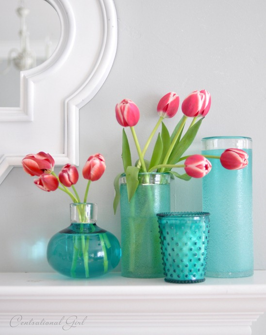 coral tulips blue vases