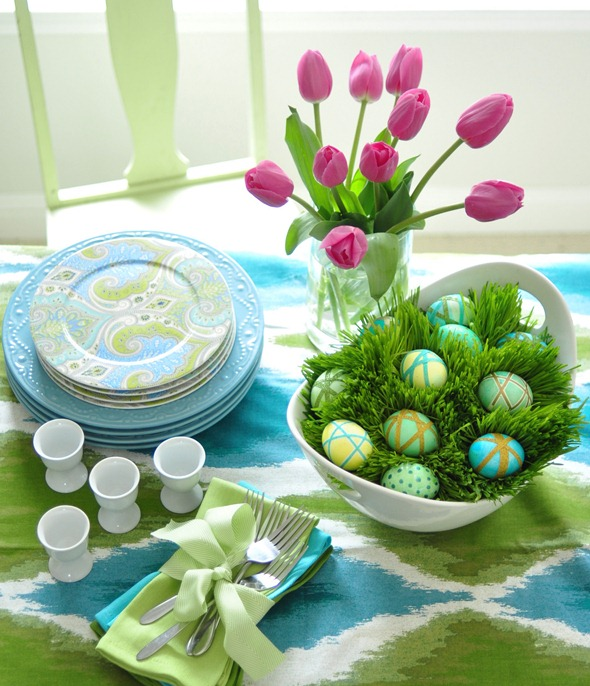 eggs and wheatgrass centerpiece
