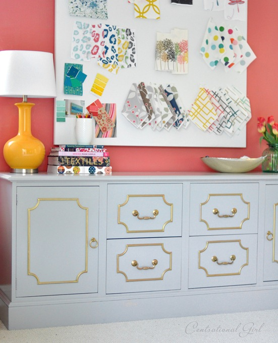 painted gray credenza