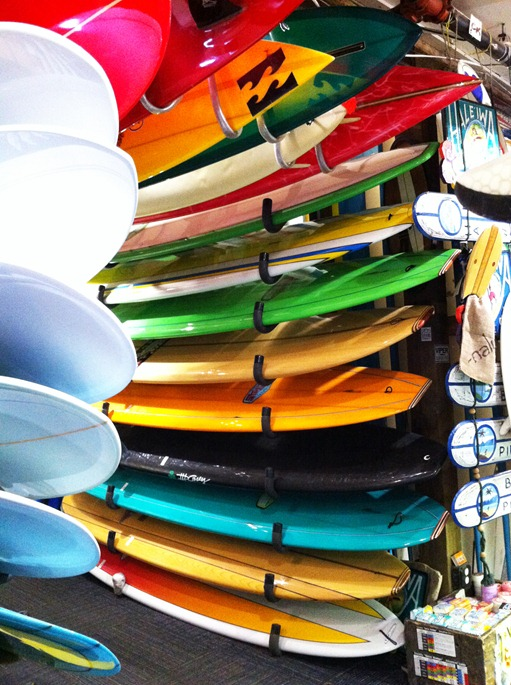 surfboards in shop