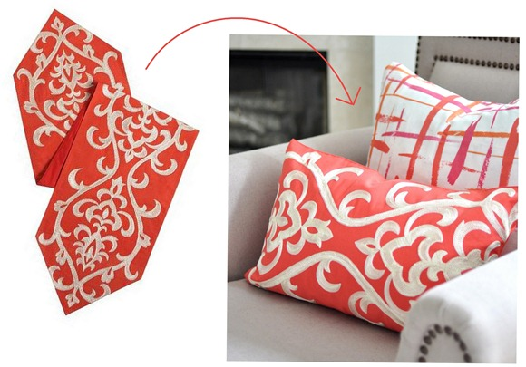 table runner accent pillows