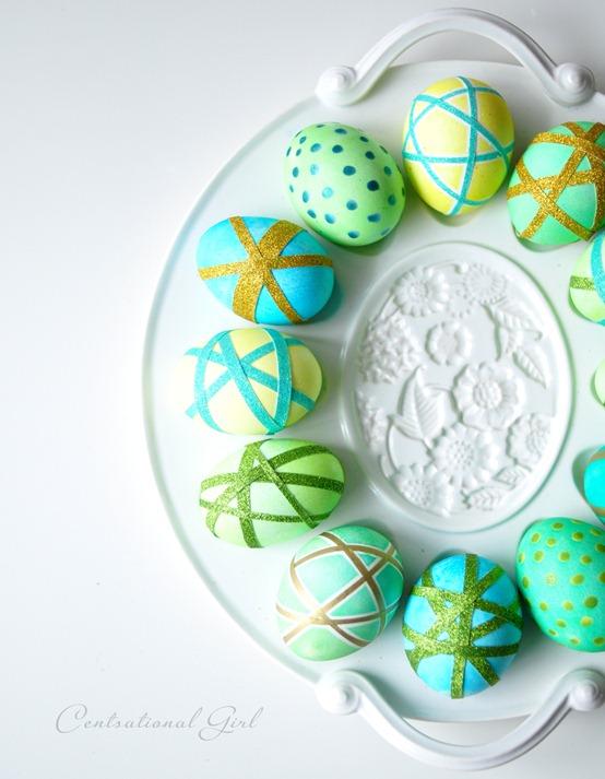 washi tape easter eggs on platter