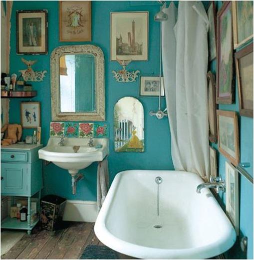 art filled bathroom
