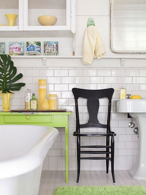 Solutions for renters bathrooms centsational style - Small storage table for bathroom ...