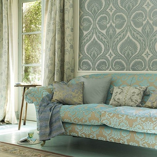 traditional fabric and wallpaper
