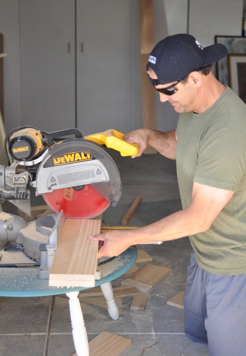 cut boards with miter saw