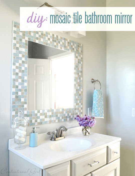 mosaic tile bathroom mirror diy mosaic tile bathroom mirror centsational 19665