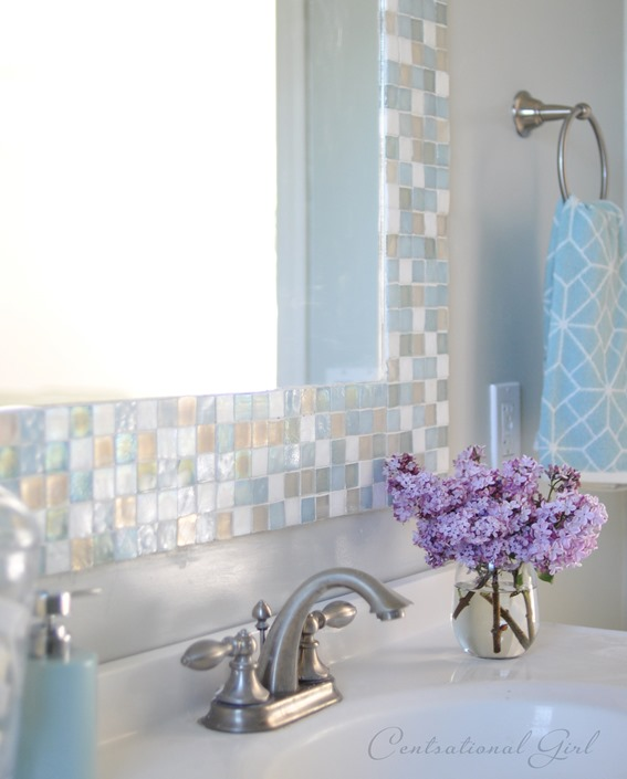 mosaic tile bathroom mirror diy mosaic tile bathroom mirror centsational style 19665