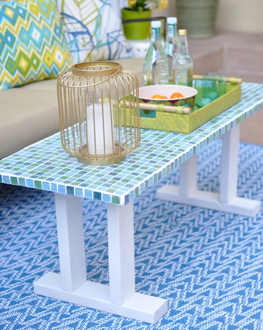 mosaic tile table bench
