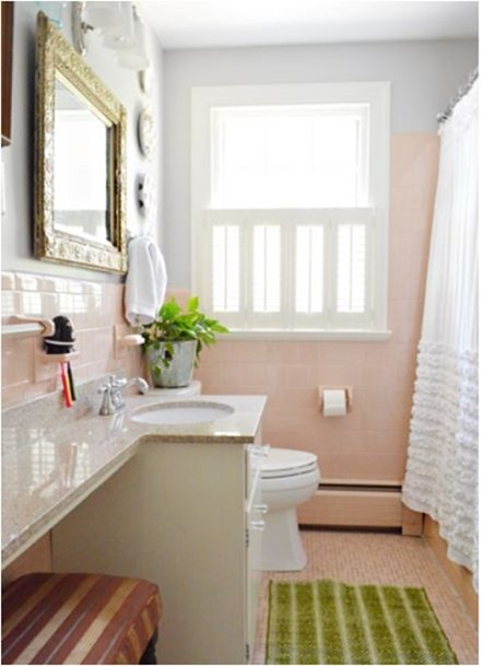 Solutions for renters bathrooms centsational girl for Pink and gray bathroom sets