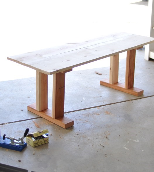 This is what the basic wood table/bench looked like after construction ...