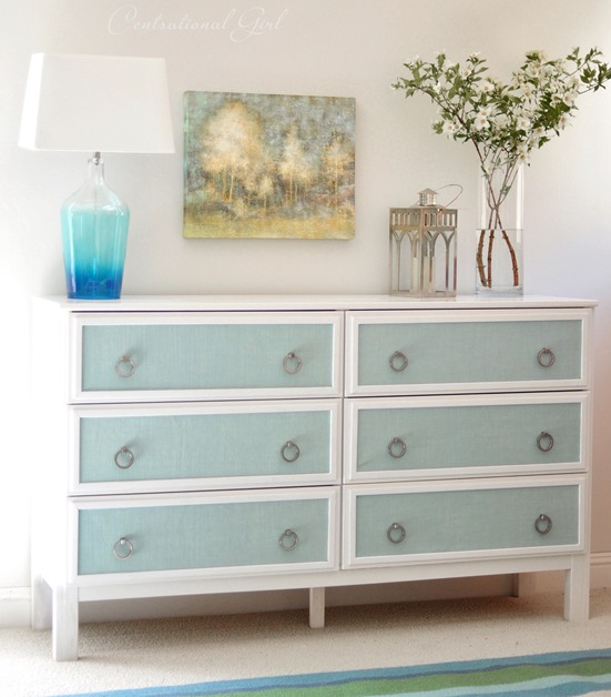 blue burlap panel ikea dresser makeover