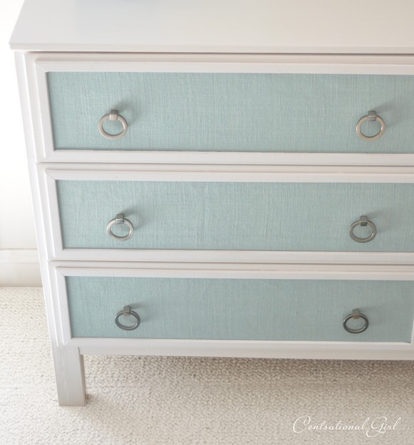 blue burlap panels on dresser