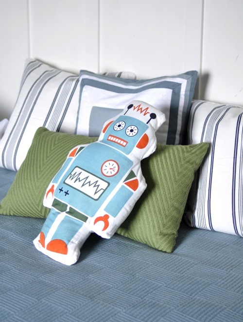 boys room robot pillow
