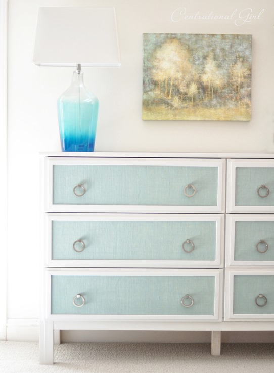ikea dresser makeover with blue burlap panels