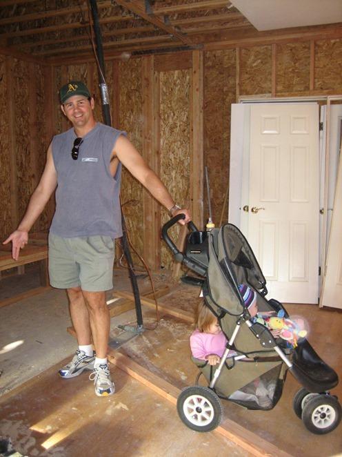 kids in stroller in family room