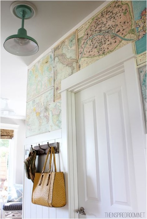 maps in foyer theinspiredroom