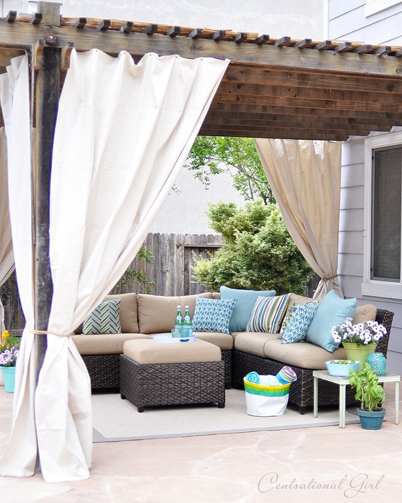 outdoor room with canvas panels