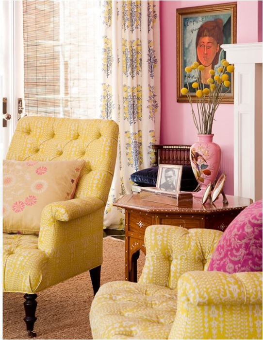 pink and yellow living room mwells