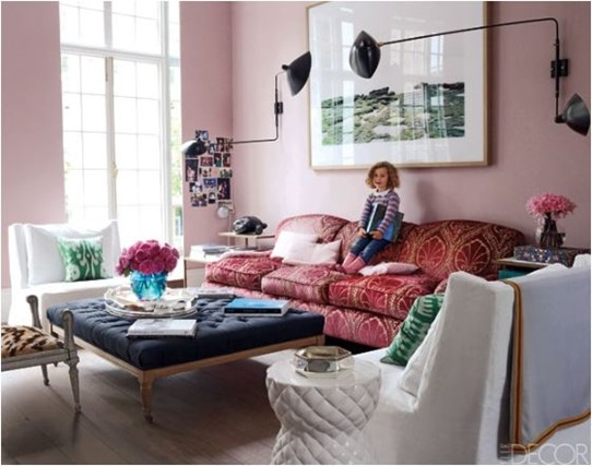 pink walls elle decor