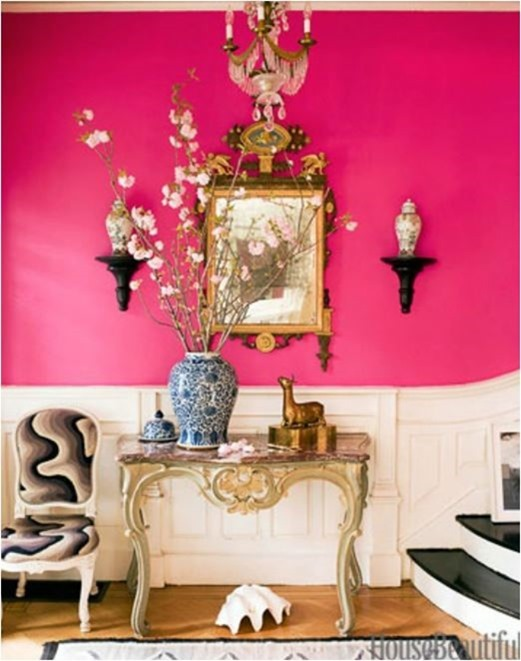 pink walls house beautiful