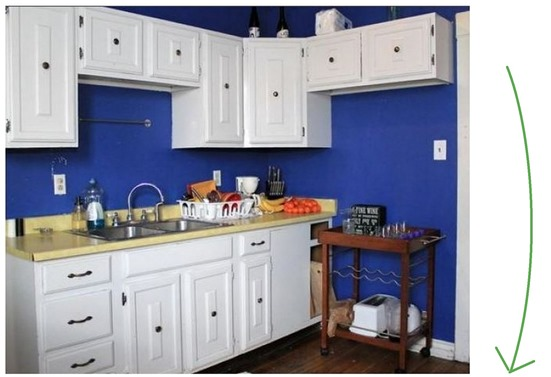 blue kitchen before and after