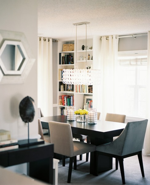 bookcases in dining room lonny