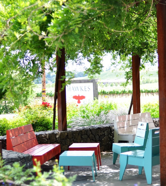 colorful seating at hawkes winery