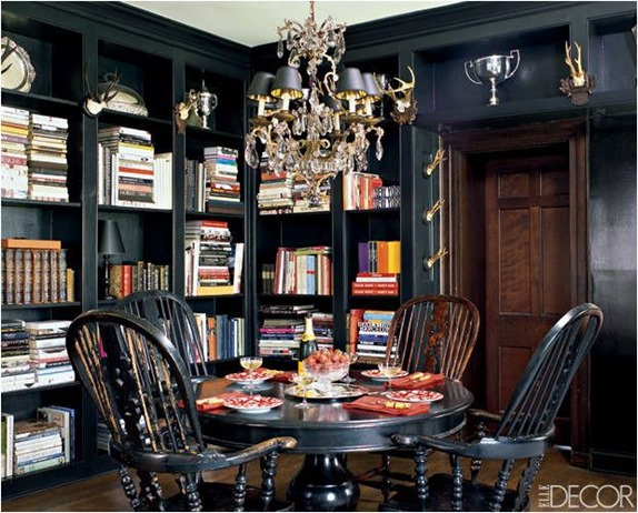 dine in library elle decor