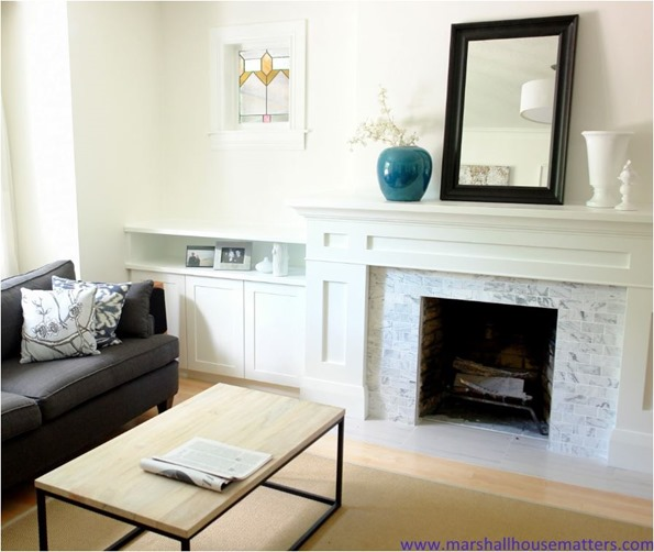 fireplace makeover and built ins marshallhousematters