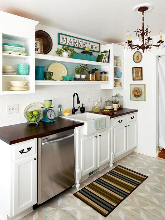 white kitchen with open shelving bhg