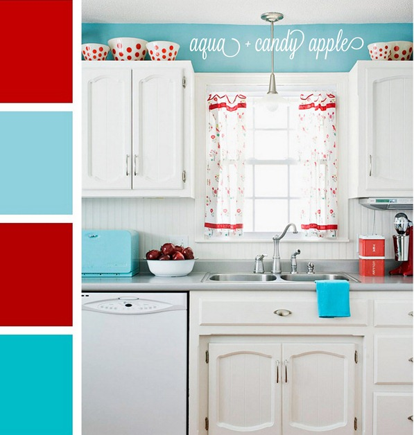 aqua and candy apple red palette