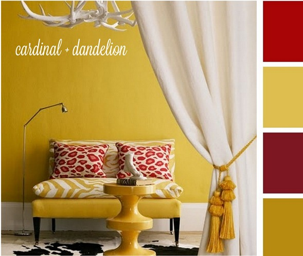 cardinal and dandelion yellow