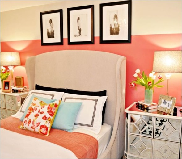 Decorating with coral centsational girl for Coral walls living room
